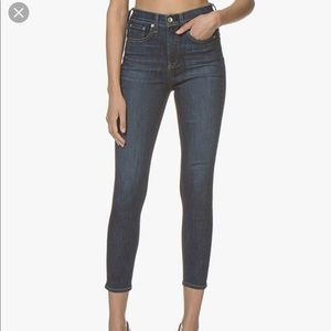 Rag & Bone High Waisted Ankle Skinny Coated Worn